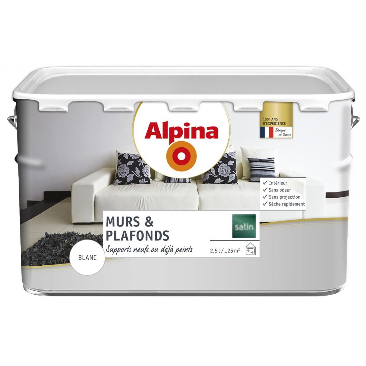 Alpina Peinture Alpina Murs Plafonds 2 5l Blanc Satin à