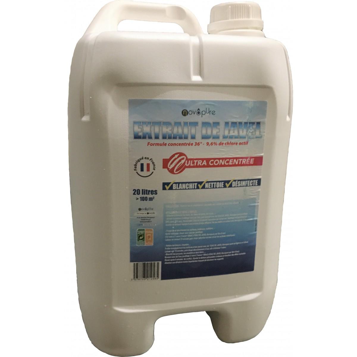 Eau De Javel Anti Mousse Terrasse extrait de javel 9,6% de chlore actif 20l